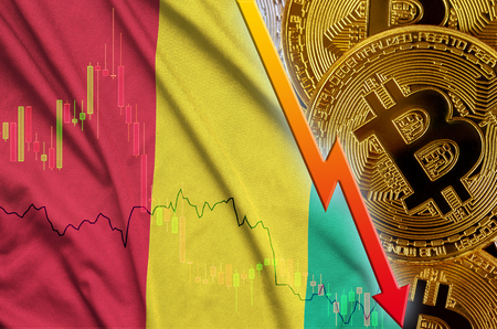 Guinea flag and cryptocurrency falling trend with many golden bitcoins. Concept of reduction Bitcoin in price or bad conversion in cryptocurrency mining