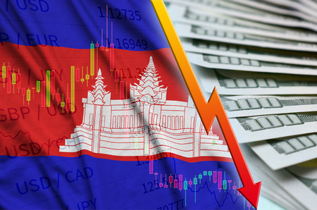 Cambodia flag and chart falling US dollar position with a fan of dollar bills. Concept of depreciation value of US dollar currency