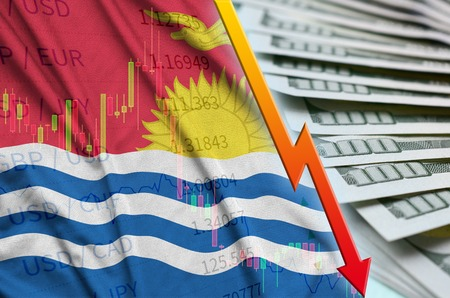 Kiribati flag and chart falling US dollar position with a fan of dollar bills. Concept of depreciation value of US dollar currency