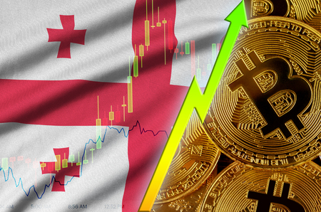 Georgia flag  and cryptocurrency growing trend with many golden bitcoins. Concept of raising Bitcoin in price or high conversion in cryptocurrency mining 免版税图像
