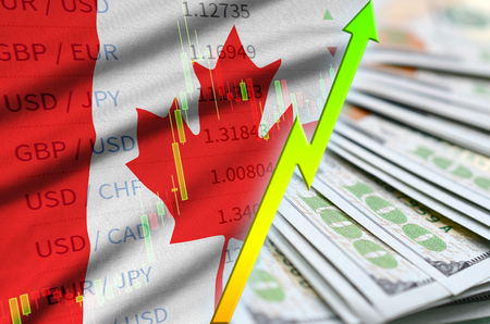 Canada flag and chart growing US dollar position with a fan of dollar bills. Concept of increasing value of US dollar currency Banco de Imagens