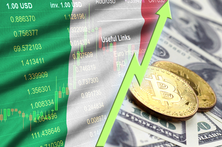 Italy flag and cryptocurrency growing trend with two bitcoins on dollar bills. Concept of raising Bitcoin in price against the dollar Zdjęcie Seryjne