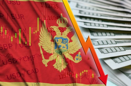 Montenegro flag and chart falling US dollar position with a fan of dollar bills. Concept of depreciation value of US dollar currency