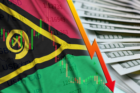 Vanuatu flag and chart falling US dollar position with a fan of dollar bills. Concept of depreciation value of US dollar currency