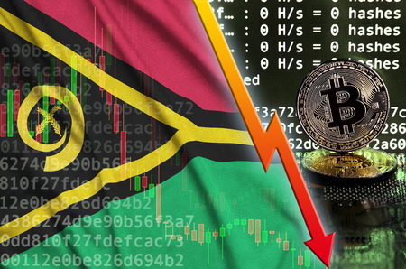 Vanuatu flag and falling red arrow on bitcoin mining screen and two physical golden bitcoins. Concept of low conversion in cryptocurrency mining