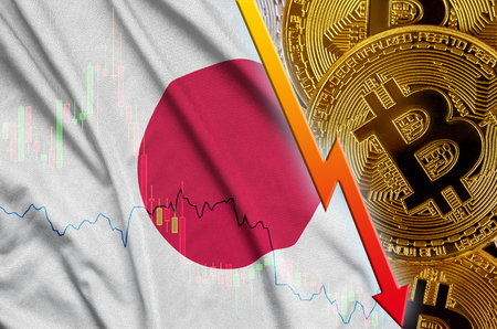 Japan flag and cryptocurrency falling trend with many golden bitcoins. Concept of reduction Bitcoin in price or bad conversion in cryptocurrency mining Foto de archivo