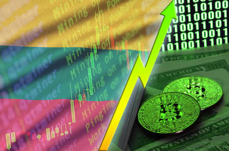 Lithuania flag and cryptocurrency growing trend with two bitcoins on dollar bills and binary code display. Concept of raising Bitcoin in price and high conversion in cryptocurrency mining Stock fotó