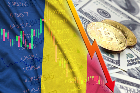 Chad flag and cryptocurrency falling trend with two bitcoins on dollar bills. Concept of depreciation Bitcoin in price against the dollar