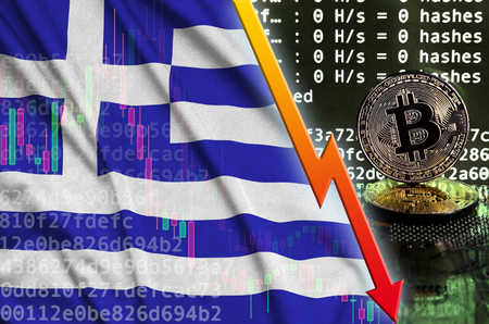 Greece flag and falling red arrow on bitcoin mining screen and two physical golden bitcoins. Concept of low conversion in cryptocurrency mining Banco de Imagens