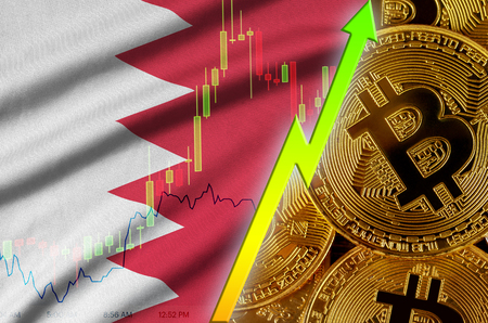 Bahrain flag  and cryptocurrency growing trend with many golden bitcoins. Concept of raising Bitcoin in price or high conversion in cryptocurrency mining 免版税图像