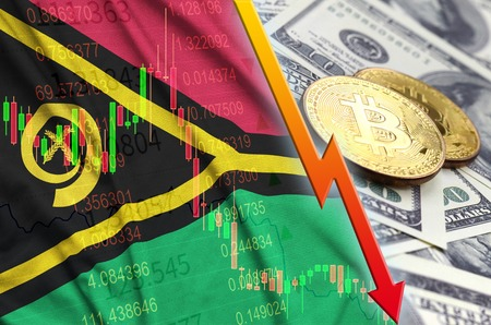 Vanuatu flag and cryptocurrency falling trend with two bitcoins on dollar bills. Concept of depreciation Bitcoin in price against the dollar Banco de Imagens