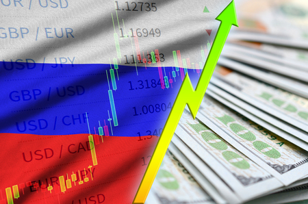Russia flag and chart growing US dollar position with a fan of dollar bills. Concept of increasing value of US dollar currency Imagens
