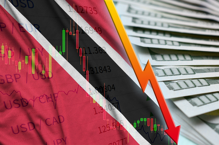 Trinidad and Tobago flag and chart falling US dollar position with a fan of dollar bills. Concept of depreciation value of US dollar currency