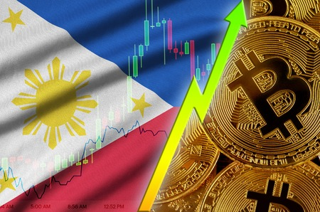 Philippines flag  and cryptocurrency growing trend with many golden bitcoins. Concept of raising Bitcoin in price or high conversion in cryptocurrency mining