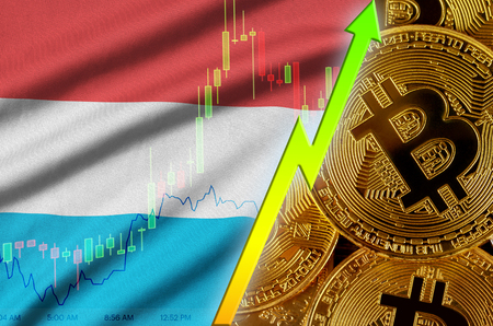 Luxembourg flag  and cryptocurrency growing trend with many golden bitcoins. Concept of raising Bitcoin in price or high conversion in cryptocurrency mining