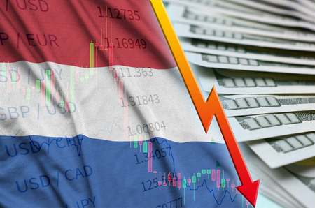Netherlands flag and chart falling US dollar position with a fan of dollar bills. Concept of depreciation value of US dollar currency Foto de archivo