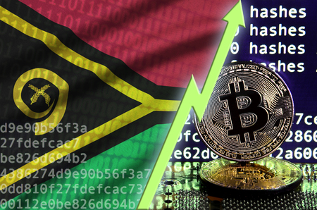 Vanuatu flag and rising green arrow on bitcoin mining screen and two physical golden bitcoins. Concept of high conversion in cryptocurrency mining