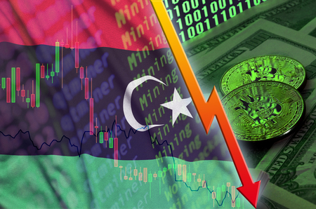 Libya flag and cryptocurrency falling trend with two bitcoins on dollar bills and binary code display. Concept of reduction Bitcoin in price and bad conversion in cryptocurrency mining Banco de Imagens