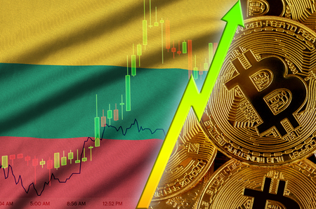 Lithuania flag  and cryptocurrency growing trend with many golden bitcoins. Concept of raising Bitcoin in price or high conversion in cryptocurrency mining