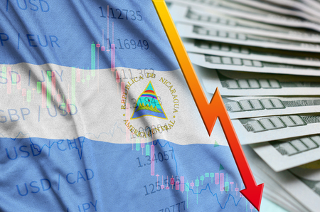 Nicaragua flag and chart falling US dollar position with a fan of dollar bills. Concept of depreciation value of US dollar currency