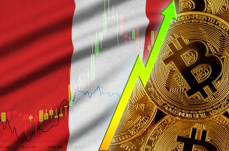 Peru flag  and cryptocurrency growing trend with many golden bitcoins. Concept of raising Bitcoin in price or high conversion in cryptocurrency mining