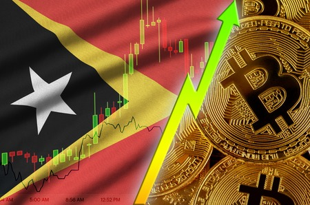 Timor Leste flag  and cryptocurrency growing trend with many golden bitcoins. Concept of raising Bitcoin in price or high conversion in cryptocurrency mining