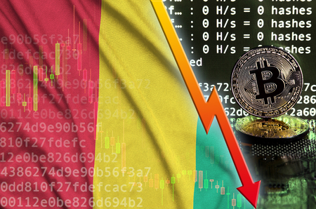 Guinea flag and falling red arrow on bitcoin mining screen and two physical golden bitcoins. Concept of low conversion in cryptocurrency mining Stock fotó