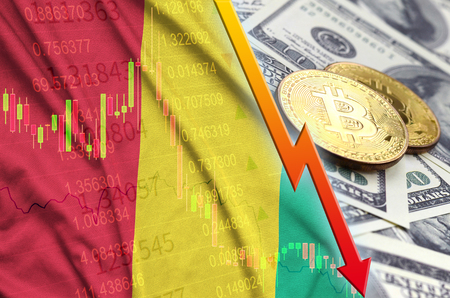 Guinea flag and cryptocurrency falling trend with two bitcoins on dollar bills. Concept of depreciation Bitcoin in price against the dollar