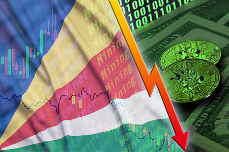 Seychelles flag and cryptocurrency falling trend with two bitcoins on dollar bills and binary code display. Concept of reduction Bitcoin in price and bad conversion in cryptocurrency mining Banco de Imagens