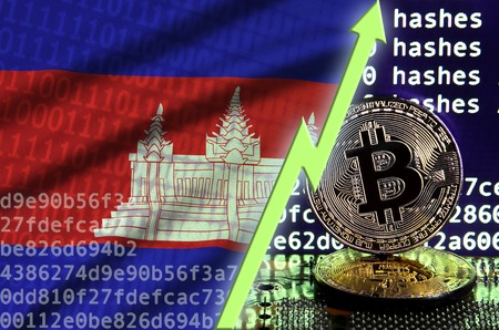 Cambodia flag and rising green arrow on bitcoin mining screen and two physical golden bitcoins. Concept of high conversion in cryptocurrency mining