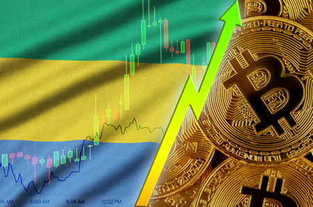 Gabon flag  and cryptocurrency growing trend with many golden bitcoins. Concept of raising Bitcoin in price or high conversion in cryptocurrency mining