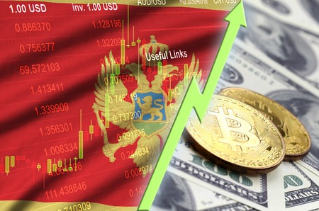 Montenegro flag and cryptocurrency growing trend with two bitcoins on dollar bills. Concept of raising Bitcoin in price against the dollar