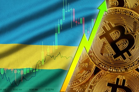 Rwanda flag  and cryptocurrency growing trend with many golden bitcoins. Concept of raising Bitcoin in price or high conversion in cryptocurrency mining
