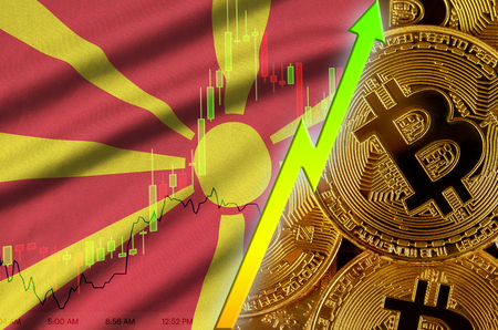 Macedonia flag  and cryptocurrency growing trend with many golden bitcoins. Concept of raising Bitcoin in price or high conversion in cryptocurrency mining