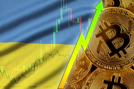 Ukraine flag  and cryptocurrency growing trend with many golden bitcoins. Concept of raising Bitcoin in price or high conversion in cryptocurrency mining 免版税图像