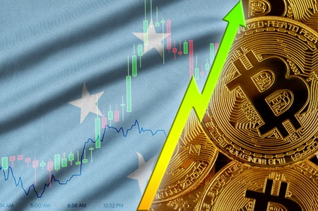 Micronesia flag  and cryptocurrency growing trend with many golden bitcoins. Concept of raising Bitcoin in price or high conversion in cryptocurrency mining Stock fotó