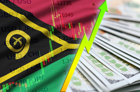 Vanuatu flag and chart growing US dollar position with a fan of dollar bills. Concept of increasing value of US dollar currency Banco de Imagens