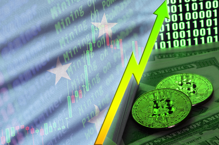 Micronesia flag and cryptocurrency growing trend with two bitcoins on dollar bills and binary code display. Concept of raising Bitcoin in price and high conversion in cryptocurrency mining