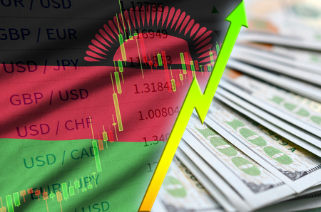 Malawi flag and chart growing US dollar position with a fan of dollar bills. Concept of increasing value of US dollar currency
