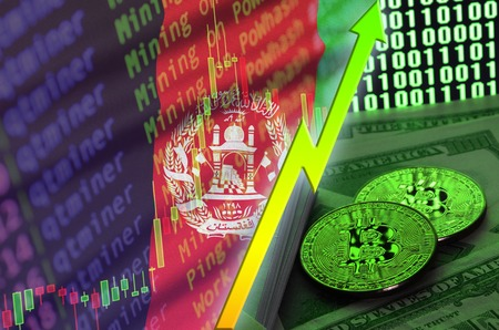 Afghanistan flag and cryptocurrency growing trend with two bitcoins on dollar bills and binary code display. Concept of raising Bitcoin in price and high conversion in cryptocurrency mining