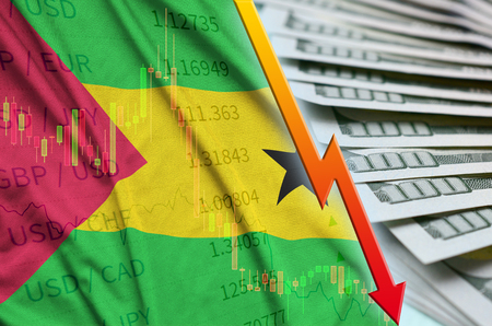 Sao Tome and Principe flag and chart falling US dollar position with a fan of dollar bills. Concept of depreciation value of US dollar currency