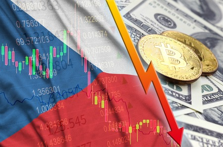 Czech flag and cryptocurrency falling trend with two bitcoins on dollar bills. Concept of depreciation Bitcoin in price against the dollar