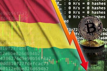 Bolivia flag and falling red arrow on bitcoin mining screen and two physical golden bitcoins. Concept of low conversion in cryptocurrency mining
