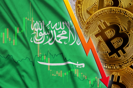 Saudi Arabia flag and cryptocurrency falling trend with many golden bitcoins. Concept of reduction Bitcoin in price or bad conversion in cryptocurrency mining Stock Photo