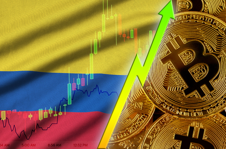 Colombia flag  and cryptocurrency growing trend with many golden bitcoins. Concept of raising Bitcoin in price or high conversion in cryptocurrency mining 免版税图像