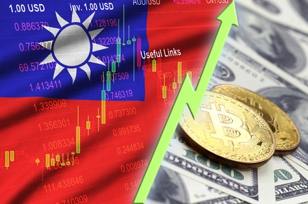 Taiwan flag and cryptocurrency growing trend with two bitcoins on dollar bills. Concept of raising Bitcoin in price against the dollar