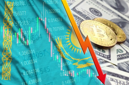 Kazakhstan flag and cryptocurrency falling trend with two bitcoins on dollar bills. Concept of depreciation Bitcoin in price against the dollar
