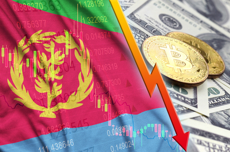 Eritrea flag and cryptocurrency falling trend with two bitcoins on dollar bills. Concept of depreciation Bitcoin in price against the dollar Zdjęcie Seryjne