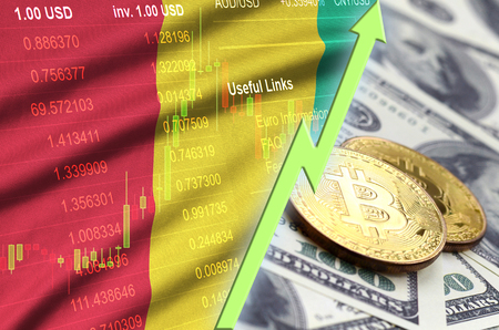 Guinea flag and cryptocurrency growing trend with two bitcoins on dollar bills. Concept of raising Bitcoin in price against the dollar