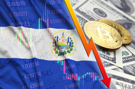 El Salvador flag and cryptocurrency falling trend with two bitcoins on dollar bills. Concept of depreciation Bitcoin in price against the dollar Standard-Bild